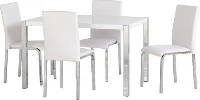Novello White Gloss Dining Set
