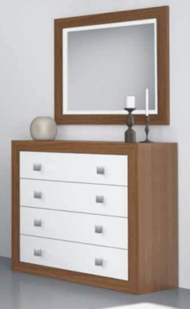 Suiza Chest of 4 Drawers Nogal & White