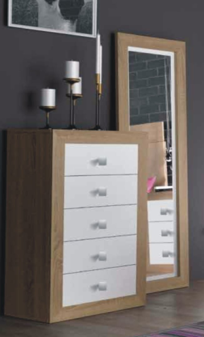 Suiza Chest of 5 Drawers Cambrian & White