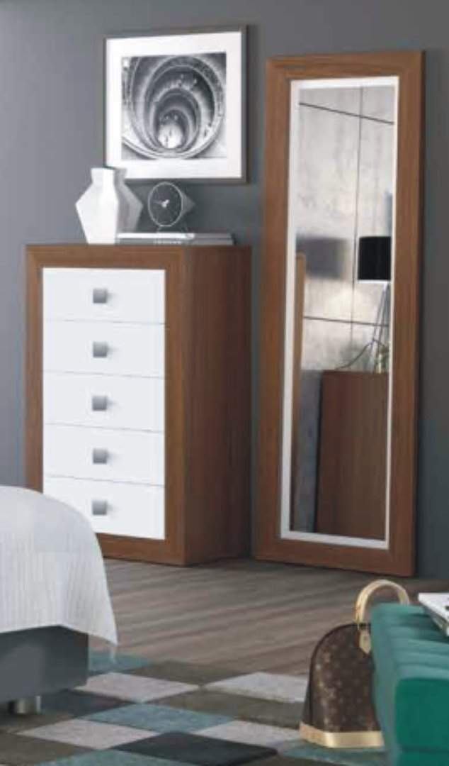 Suiza Chest of 5 Drawers Nogal & White
