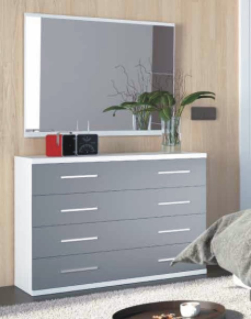 Italia 4 Drawer Chest White & Grey