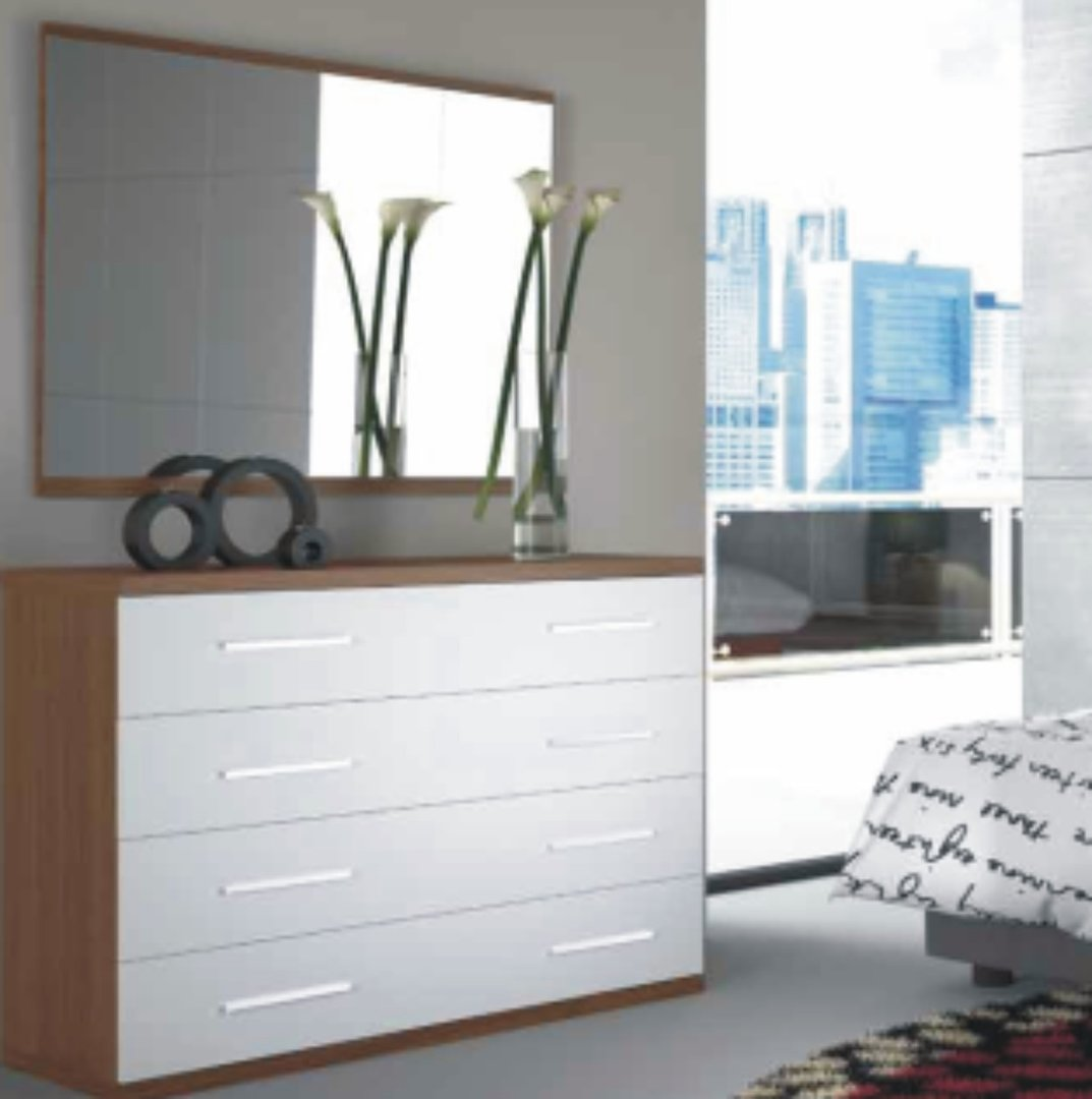 Italia 4 Drawer Chest Nogal & White