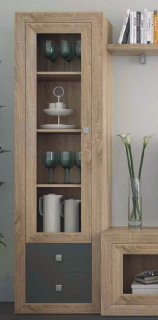 Praga Narrow Glazed Bookcase Cambrian & Grey