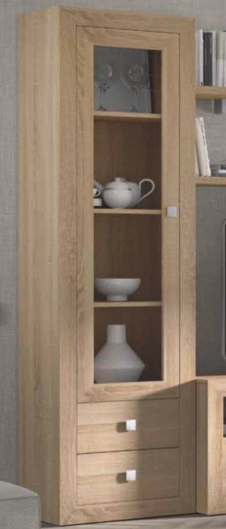 Praga Narrow Glazed Bookcase Cambrian