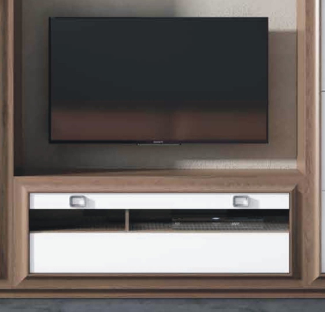 Mito 140cm Glazed TV Unit Victoria & White