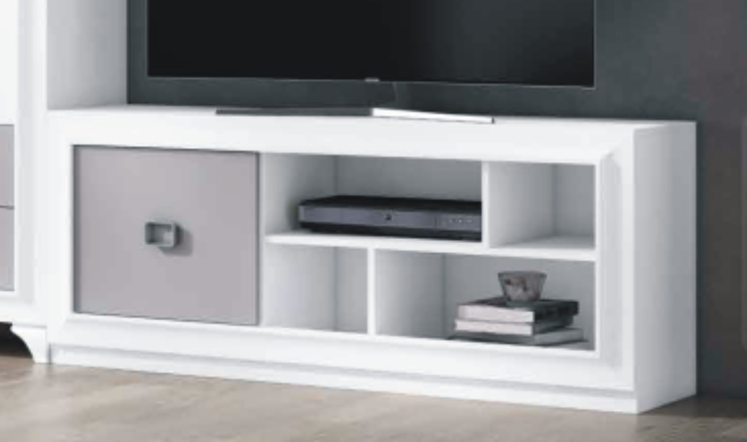 Mito 140cm TV Unit 1 Door White & Silver