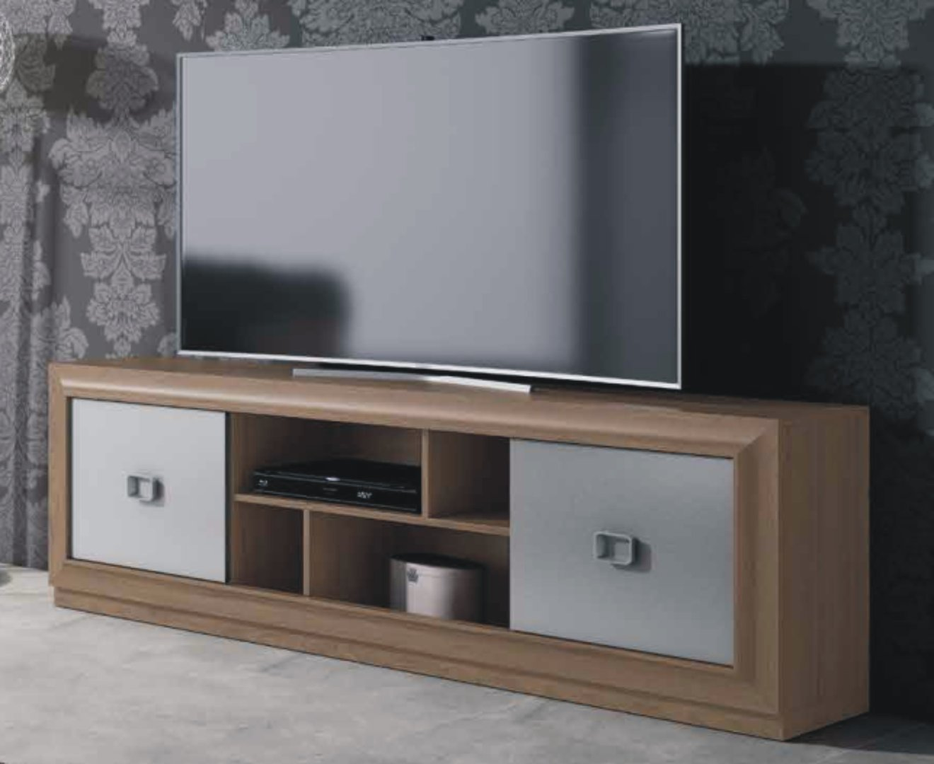 Mito 180cm 2 Door TV Unit Victoria & Silver